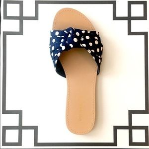 Navy Polka Dot Retro Sandals - Knotted Slip Ons